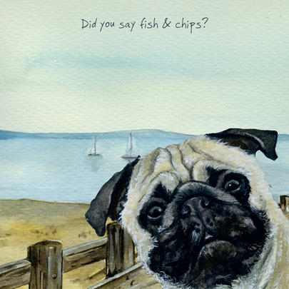 Fish & Chips Pug Little Dog Laughed Greeting Card