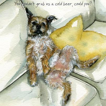 Cold Beer Border Terrier Little Dog Laughed Greeting Card