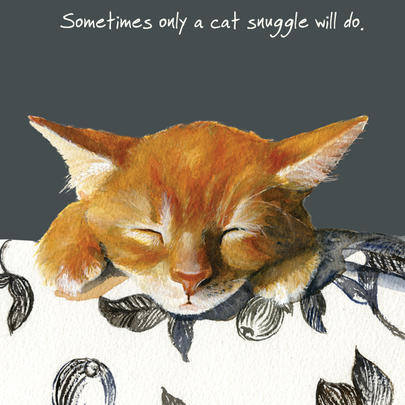 Only A Cat Snuggle Will Do Little Dog Laughed Greeting Card