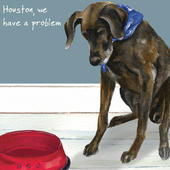 Houston We Have A Problem Little Dog Laughed Greeting Card