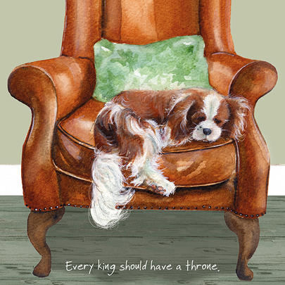 King Charles Throne Little Dog Laughed Greeting Card