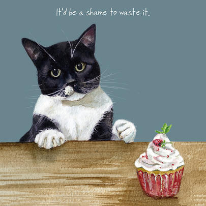 Cat Shame To Waste It Little Dog Laughed Greeting Card