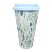 Eco Tree Print Blue Bamboo Travel Mug With Silicone Lid & Band