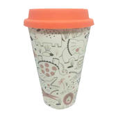 Eco Zoo Animals Bamboo Travel Mug With Orange Silicone Lid & Band