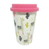 Eco Llama Bamboo Travel Mug With Pink Silicone Lid & Band
