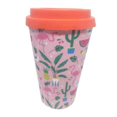 Eco Pink Flamingo Bamboo Travel Mug With Silicone Lid & Band