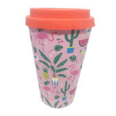 Eco Pink Flamingo Bamboo Travel Mug With Silicone Lid & Band