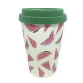 Eco Watermelon Bamboo Travel Mug With Silicone Lid & Band