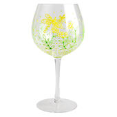Hand Painted Dragonfly Design Gin Goblet Glass In Gift Box