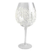 Hand Painted Large Wine Glass Goblet In Gift Box