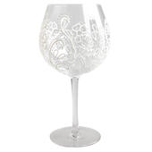 Hand Painted Cream Floral Design Gin Goblet Glass In Gift Box