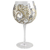 Hand Painted Gold Floral Design Gin Goblet Glass In Gift Box