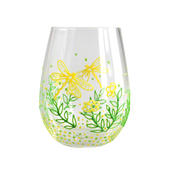 Hand Painted Yellow Dragonflies Stemless Wine Glass In Gift Box
