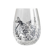 Hand Painted Silver Dragonflies Design Stemless Wine Glass In Gift Box