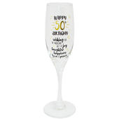 Happy 50th Birthday Celebrate In Style Champagne Flute Glass In Gift Box