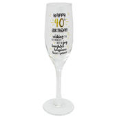 Happy 40th Birthday Celebrate In Style Champagne Flute Glass In Gift Box