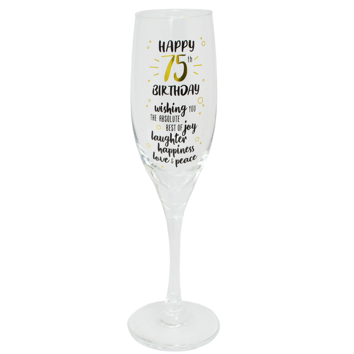 Happy 75th Birthday Celebrate In Style Champagne Flute Glass In Gift Box