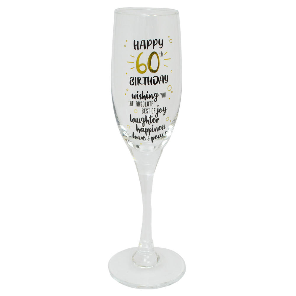 Happy 60th Birthday Celebrate In Style Champagne Flute Glass In Gift Box