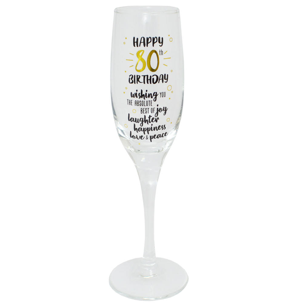 Happy 80th Birthday Celebrate In Style Champagne Flute Glass In Gift Box