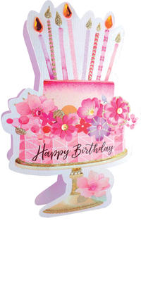 Pink Cake Happy Birthday 3D Paper Dazzle Birthday Greeting Card