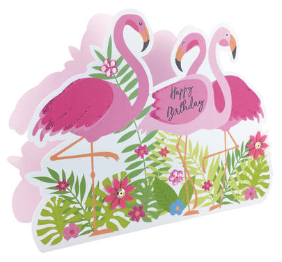 Happy Birthday Flamingos 3D Paper Dazzle Birthday Greeting Card