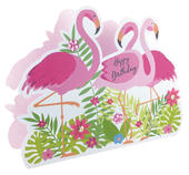 Happy Birthday Flamingos 3D Paper Dazzle Birthday Greeting Card