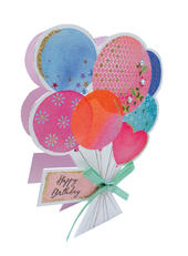 Bunch Of Balloons 3D Paper Dazzle Birthday Greeting Card