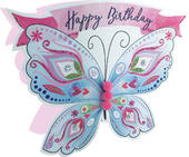Butterflies Happy Birthday 3D Paper Dazzle Greeting Card