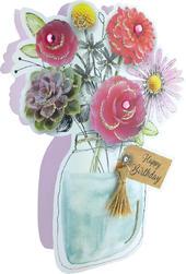Flowers In Jar 3D Paper Dazzle Birthday Greeting Card