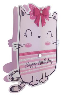 Cartoon Cat Happy Birthday 3D Paper Dazzle Greeting Card