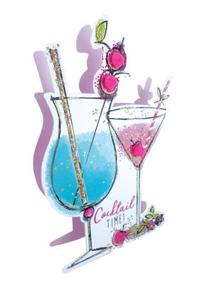 Cocktails With Sparkle  3D Paper Dazzle Birthday Greeting Card