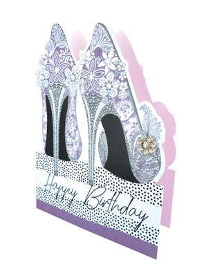 Floral Shoes 3D Paper Dazzle Birthday Greeting Card