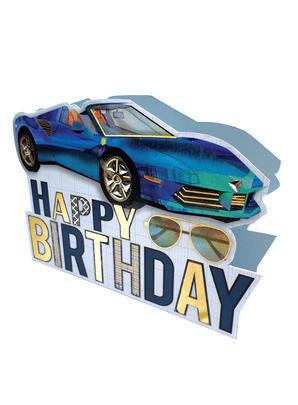 Sports Car Happy Birthday 3D Paper Dazzle Greeting Card