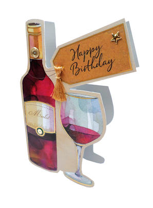 Red Wine & Glass 3D Paper Dazzle Birthday Greeting Card