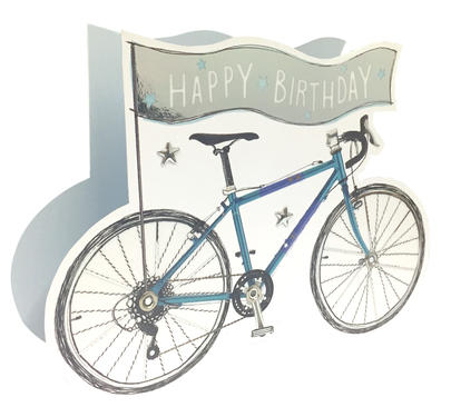 Bicycle Happy Birthday 3D Paper Dazzle Birthday Greeting Card