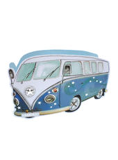 Blue Camper Van 3D Paper Dazzle Birthday Greeting Card