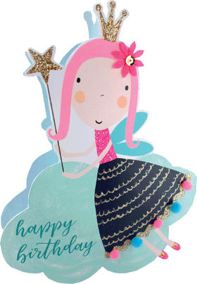 Fairy Happy Birthday 3D Paper Dazzle Birthday Greeting Card