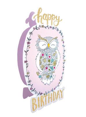 Owl Happy Birthday 3D Paper Dazzle Birthday Greeting Card