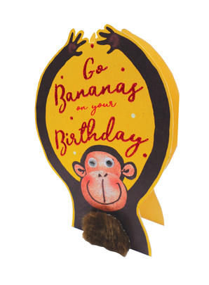 Go Bananas Monkey 3D Paper Dazzle Birthday Greeting Card