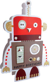 Red Robot Happy Birthday 3D Paper Dazzle Greeting Card