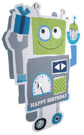 Blue Robot Happy Birthday 3D Paper Dazzle Greeting Card
