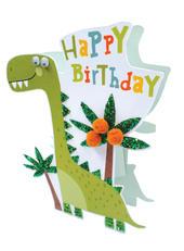 Dinosaur Happy Birthday 3D Paper Dazzle Birthday Greeting Card