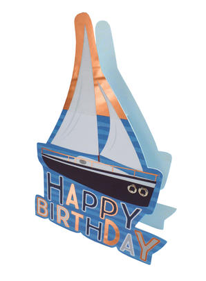 Boat Happy Birthday 3D Paper Dazzle Birthday Greeting Card