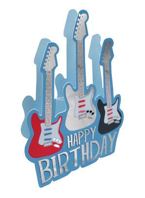 Guitar Happy Birthday 3D Paper Dazzle Birthday Greeting Card