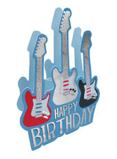 Guitar Happy Birthday 3D Paper Dazzle Birthday Greeting Card