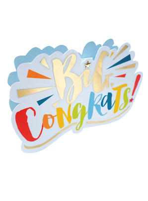 Congratulations Big Congrats 3D Paper Dazzle Greeting Card
