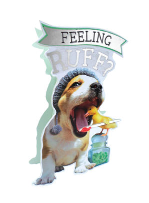 Get Well Soon Feeling Ruff 3D Paper Dazzle Greeting Card
