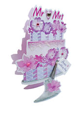 Wedding Day Mr & Mrs Cake 3D Paper Dazzle Greeting Card