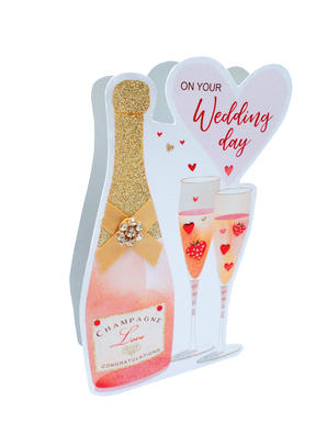Wedding Day Pink Champagne 3D Paper Dazzle Greeting Card
