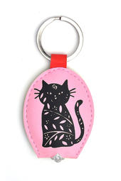 Patterned Cat LED Key Light Keyring
